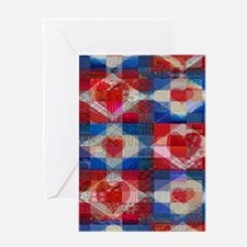 Many Hearts Patchwork Quilt Greeting Card