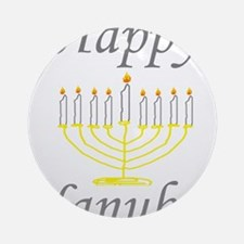 happy Hanukah Menorah Ornament (Round)