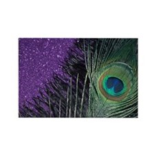 Purple and Black Peacock Rectangle Magnet