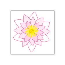 "Pink Lotus Flower. Square Sticker 3"" x 3"""