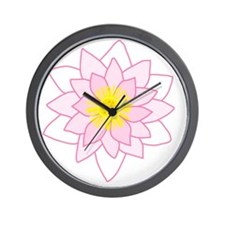 Pink Lotus Flower. Wall Clock