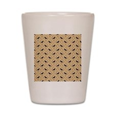 Crow Pattern on Beige. Shot Glass