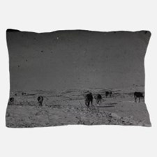 old snowdrift scene with cows roaming Pillow Case