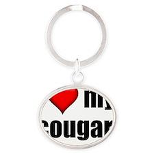 I Love My Cougar lightapparel Oval Keychain