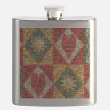 Heart Patchwork Love Quilt Flask