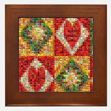 Heart Patchwork Love Quilt Framed Tile