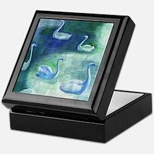 Moon Swans Square Keepsake Box