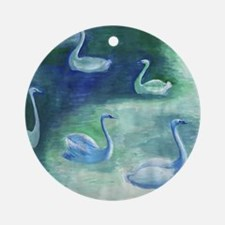 Moon Swans Square Round Ornament