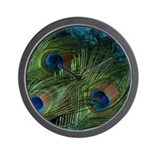 Green Peacock Feathers Wall Clock