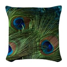 Green Peacock Feathers Woven Throw Pillow