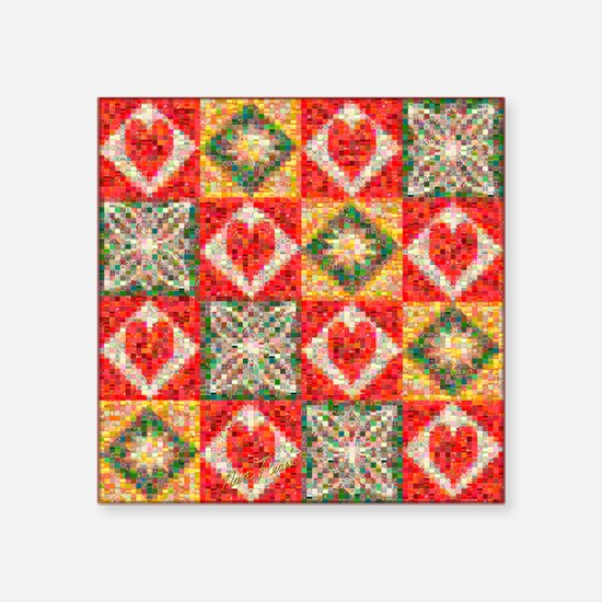 "Heart Patchwork... Square Sticker 3"" x 3"""