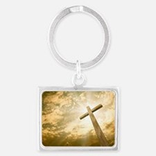Stock Photo: cross against the  Landscape Keychain