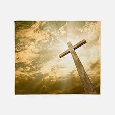 Stock Photo: cross against the sky Throw Blanket