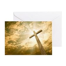 Stock Photo: cross against the sky Greeting Card