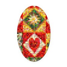 Heart Patchwork... Oval Car Magnet
