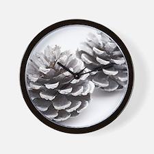 silver pine cones Wall Clock