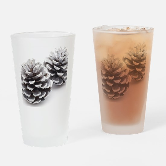 silver pine cones Drinking Glass