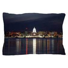 Skyline Of Madison Wisconsin At Night Pillow Case
