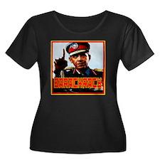 Barackra Women's Plus Size Dark Scoop Neck T-Shirt