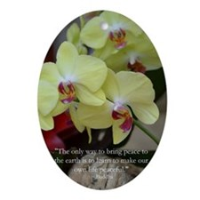 Yellow Orchid with Buddha Quote Oval Ornament