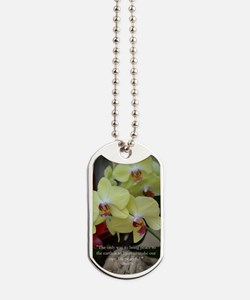 Yellow Orchid with Buddha Quote Dog Tags