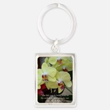 Yellow Orchid with Buddha Quote Portrait Keychain