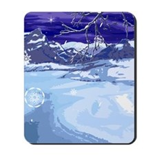 Snowy Winter Scene Mousepad