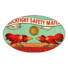 Antique Swedish Cockfight Matchbox  Decal
