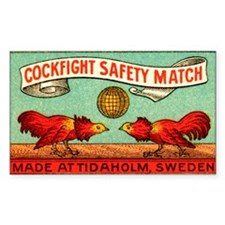 Antique Swedish Cockfight Matc Decal