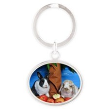 Dinah and Macintosh Picking Apples Oval Keychain