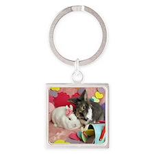 Olivia and Skyler, Valentine Bunni Square Keychain