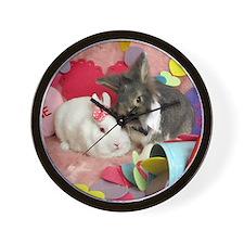 Olivia and Skyler, Valentine Bunnies Wall Clock