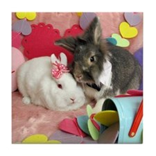 Olivia and Skyler, Valentine Bunnies Tile Coaster