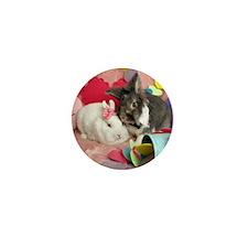 Olivia and Skyler, Valentine Bunnies Mini Button