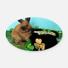 Buddy the Lucky Bunny Oval Car Magnet