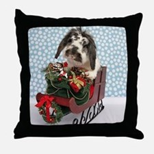 Dudley in Winter Sleigh Throw Pillow