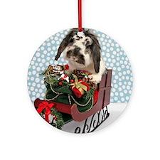 Dudley in Winter Sleigh Round Ornament