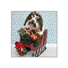 "Dudley in Winter Sleigh Square Sticker 3"" x 3"""