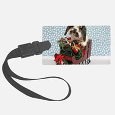 Dudley in Winter Sleigh Luggage Tag