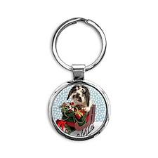 Dudley in Winter Sleigh Round Keychain
