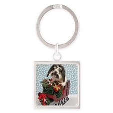 Dudley in Winter Sleigh Square Keychain
