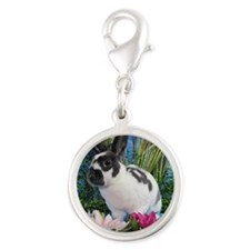 Buttercup Bunny on Lily Pads-2 Silver Round Charm