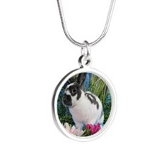 Buttercup Bunny on Lily Pads Silver Round Necklace