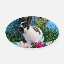 Buttercup Bunny on Lily Pads-2 Oval Car Magnet