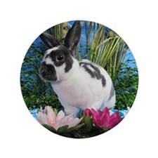 """Buttercup Bunny on Lily Pads-2 3.5"""" Button"""