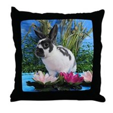 Buttercup Bunny on Lily Pads-2 Throw Pillow