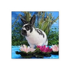 "Buttercup Bunny on Lily Pad Square Sticker 3"" x 3"""