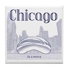 Chicago_10x10_ChicagoBeanSkylineV1_Bl Tile Coaster