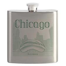 Chicago_10x10_ChicagoBeanSkylineV1_Green Flask