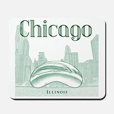 Chicago_10x10_ChicagoBeanSkylineV1_Green Mousepad